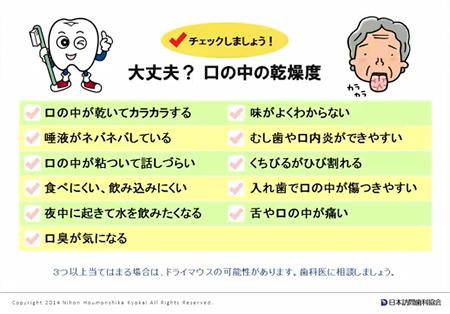 お口の乾燥度チェック表